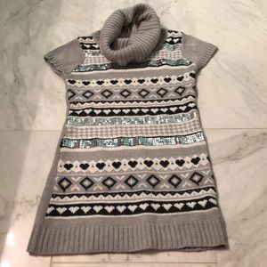 Other - Gray Knitted Dress With Sequined Pattern